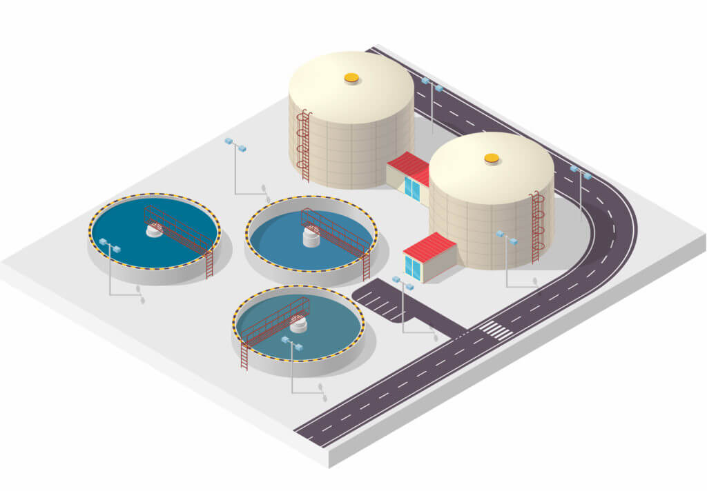 Model graphic of wastewater treatment works