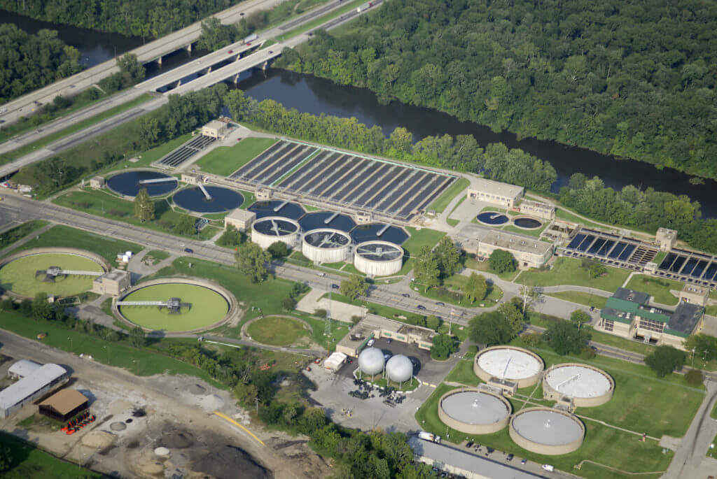 Aerial shot of wastewater treatment works - process modelling